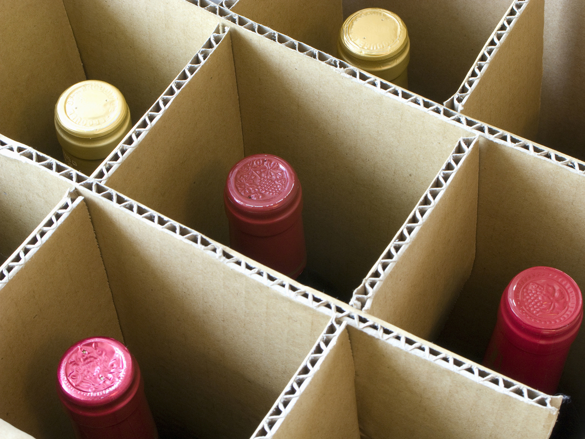 Wine in storage box